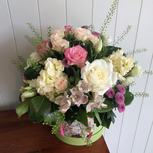 Cerise Flowers Tramore Hatbox Bouquet Delivery Waterford Hatbox1
