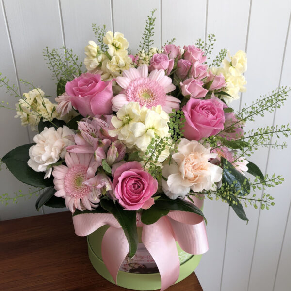 Cerise Flowers Tramore Hatbox Bouquet Delivery Waterford Hatbox7