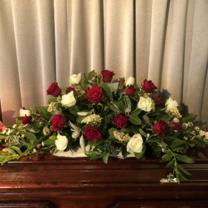Funeral flowers Tramore Waterford coffin florist tramore cerise flowers (1)