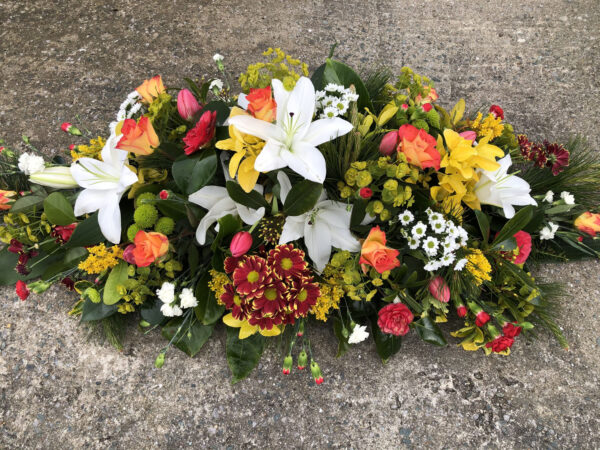 Funeral flowers Tramore Waterford coffin florist tramore cerise flowers (4)
