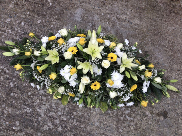 Funeral flowers Tramore Waterford coffin florist tramore cerise flowers (6)