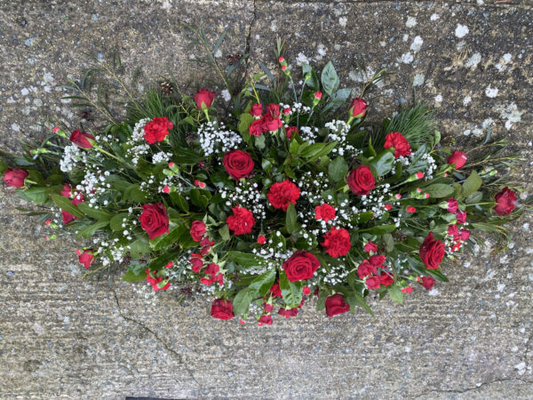 Funeral flowers Tramore Waterford coffin florist tramore cerise flowers (9)