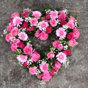 Funeral flowers Tramore Waterford heart florist tramore cerise flowers (3)