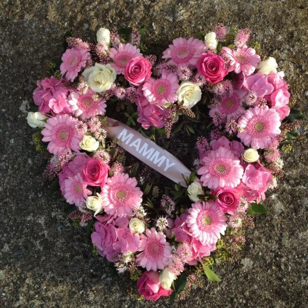 Funeral flowers Tramore Waterford heart florist tramore cerise flowers (4)