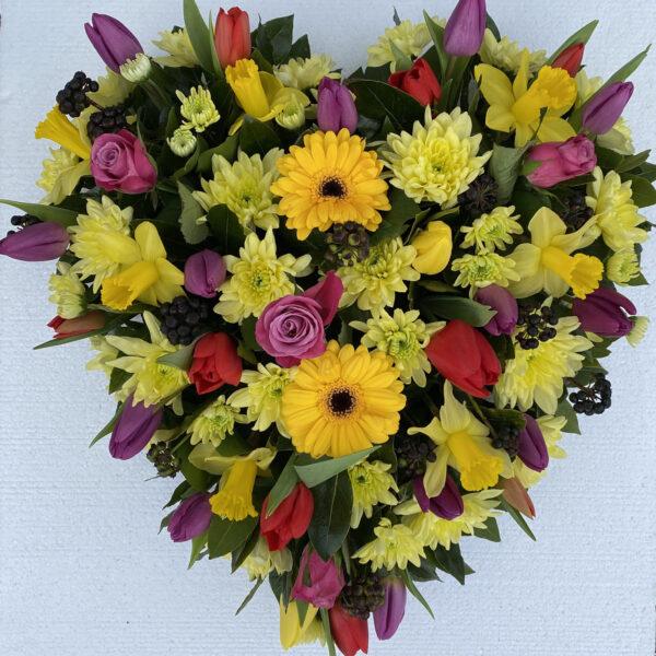 Funeral flowers Tramore Waterford heart florist tramore cerise flowers (5)