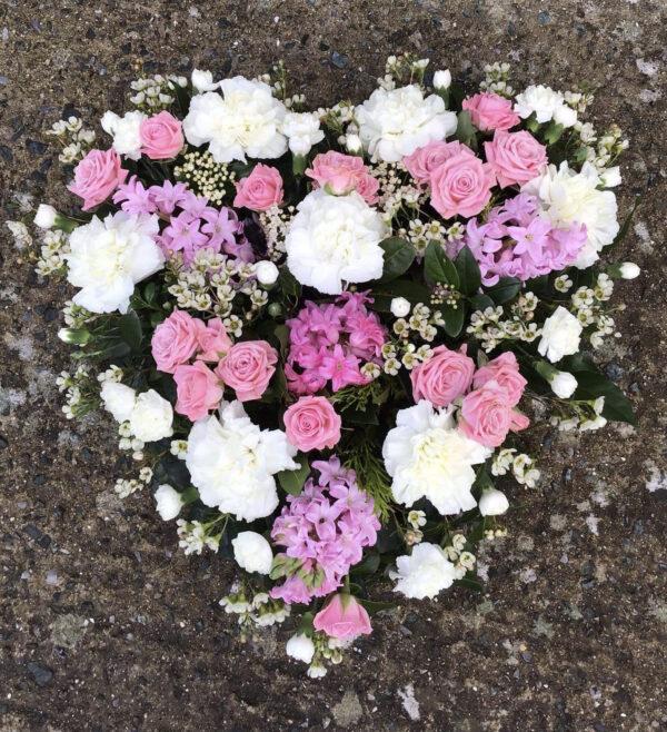 Funeral flowers Tramore Waterford heart florist tramore cerise flowers (7)