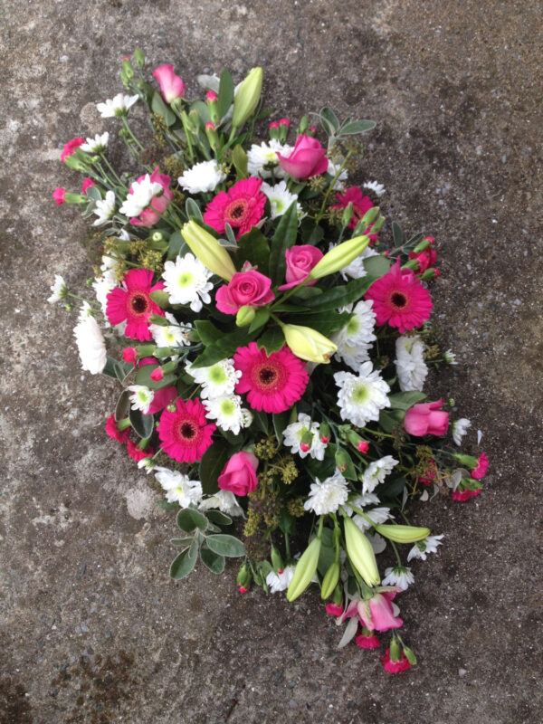 Funeral flowers Tramore Waterford spray florist tramore cerise flowers (4)