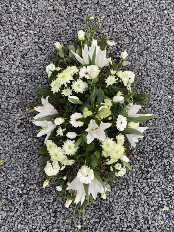 Funeral flowers Tramore Waterford spray florist tramore cerise flowers (9)